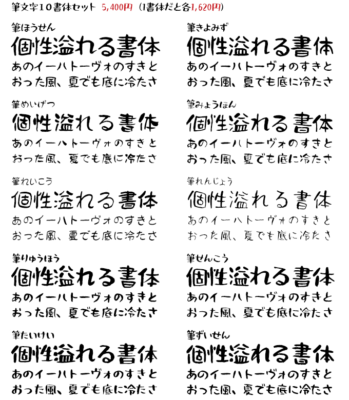 Fonts66 筆文字10書体セット