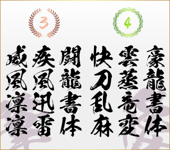 昭和書体2016年ランキング上位 書き比べセット 闘龍書体+豪龍書体