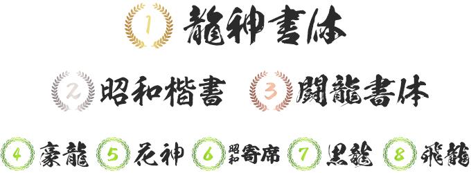昭和書体 2016年 売れ筋ランキング