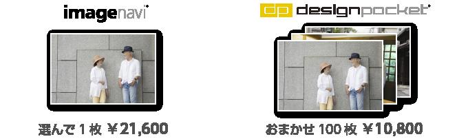 「imagenavi」なら選んで1枚21,600円、「designpocket」ならお任せ100枚10,800円