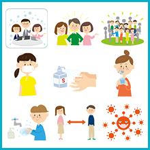新型コロナウイルス対策 イラスト素材集.2 カットイラスト編2