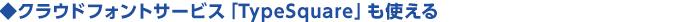 ◆クラウドフォントサービス「TypeSquare」も使える
