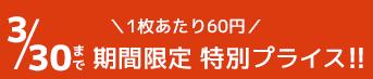 \1枚あたり60円/ 3/30まで期間限定特別プライス!!