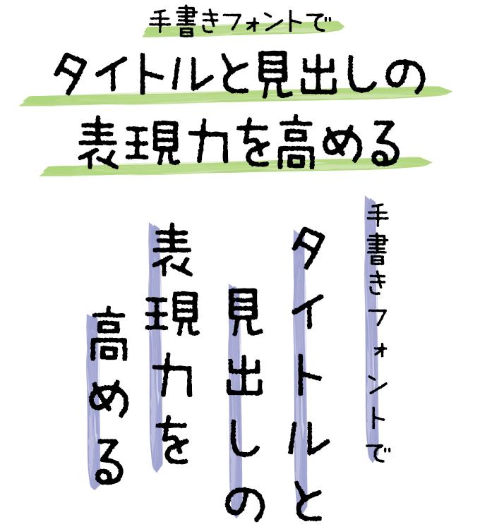 手書きフォント タイトル組み見本 ミウラフォント/モップスタジオ ミウラ見出しLinerOtf R