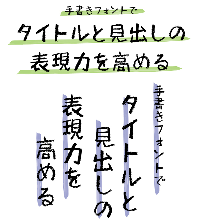 手書きフォント タイトル組み見本 ミーネット 筆技名人フォント 遊月体