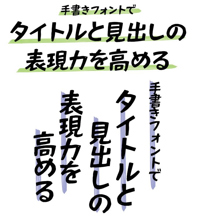 手書きフォント タイトル組み見本 Fonts66 ハンディック