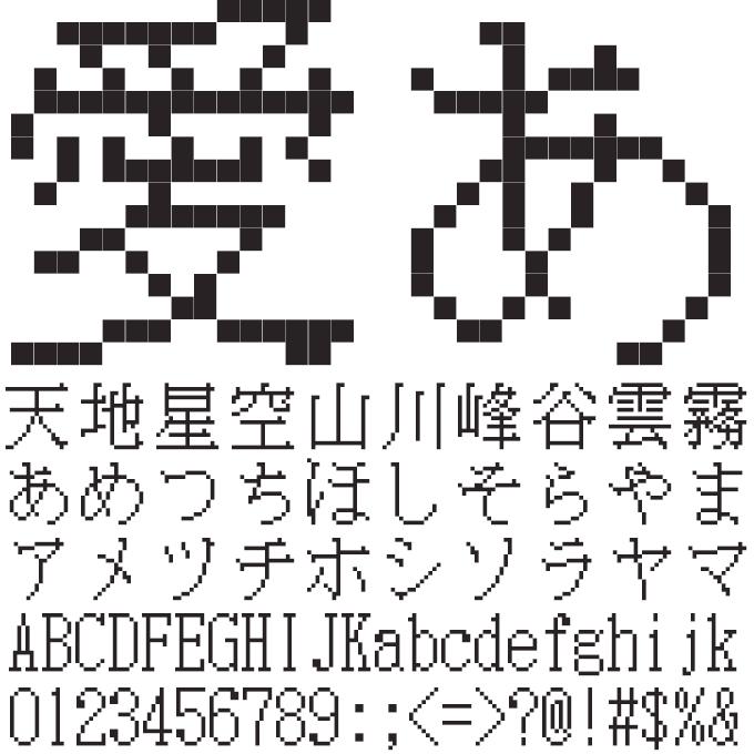 組み込みOK fontUcom ゲームで使える87書体セット 電光掲示板みたいなフォント AFS明朝16■R 文字見本