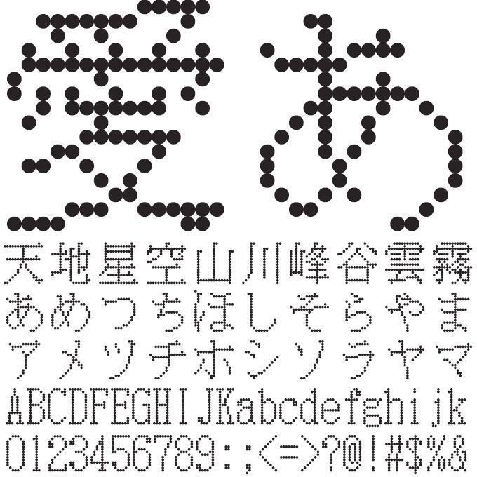組み込みOK fontUcom ゲームで使える87書体セット 電光掲示板みたいなフォント AFS明朝16●R 文字見本