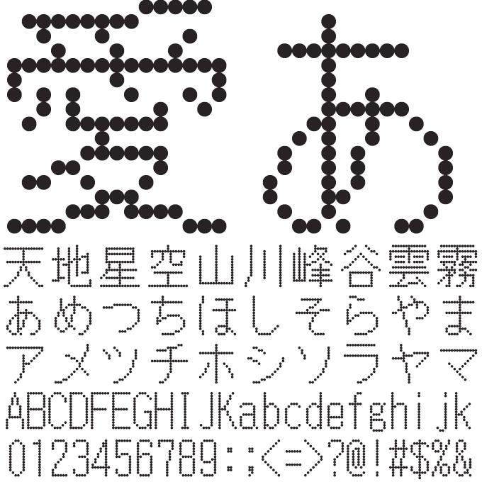 組み込みOK fontUcom ゲームで使える87書体セット 電光掲示板みたいなフォント AFSゴシック16●R 文字見本