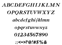 組み込みOK fontUcom ゲームで使える87書体セット AFSCasBItalic 文字見本